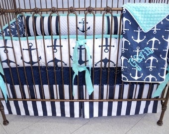 Nautical Baby Bedding  Navy & Mint : Gavin Bedding