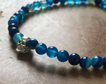 Balance Skull 2: elastic beaded bracelet with silver tone skull and blue striped agate - love, gemstone, blue, cobalt, stripes
