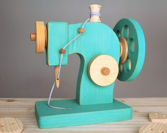 Wooden sewing machine, Waldorf toy, wooden toy, sewing toy