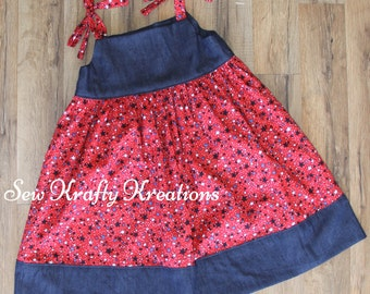 Girl's Tie Shoulder Dress - Red, White and Blue Stars with Denim