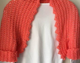Coral/Peach Shrug with Versatile Sleeves
