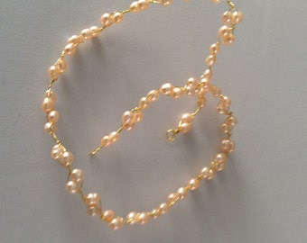 Bridal hair vine  made with Peach rice freshwater pearl