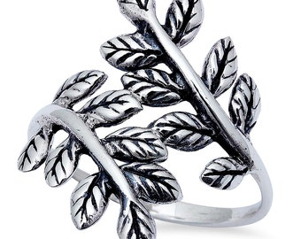 wrap Leaf Ring in Solid 925 Sterling Silver Plain Simple Fashion Cute Bay Leaf Ring Delicate Laurel Ring whimsical Wrap ring Graduation Gift
