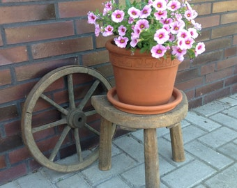 Primitive milking stool, handmade, German , wooden three legged milkmaid stool with woodworm holes, shabby, rustic, farmhouse, country décor