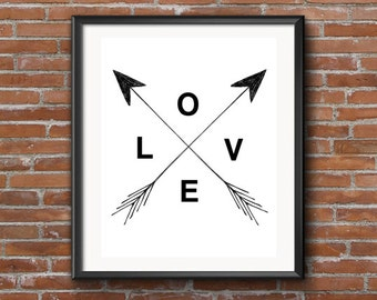 Love Sign, Love Sign Digital Print, Love, Home Decor, Instant Download, Black and White, Love Sign with Arrows, Wall Art, 5x7, 8x10, 11x14