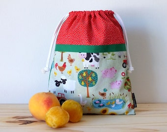 Farm animals bag for kids, lunch bag, reusable snack bag for school
