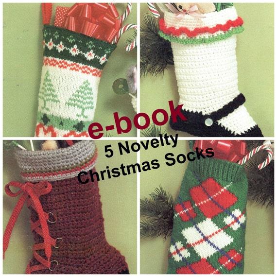 Christmas Stockings E-Book Knit/Crochet Vintage Fair Isle