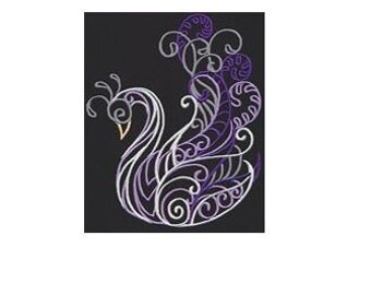 PAIR hand towels - Swan - EMBROIDERED 15 x 25 inch for kitchen or bath