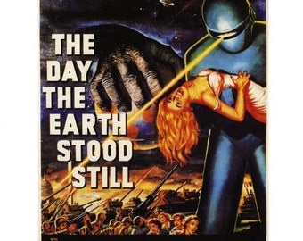 "50% Off Estate Sale Vintage Horror Science Fiction Movie Poster, 1951 The Day the Earth Stood Still, PM001 Mid Century 11"" x 14"""