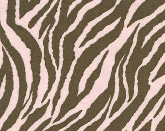 Pink and Brown Zebra Minky Fabric - By The Yard - Girl / Minky