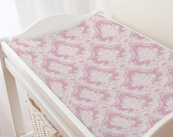 Carousel Designs Rose Pink Damask Changing Pad Cover