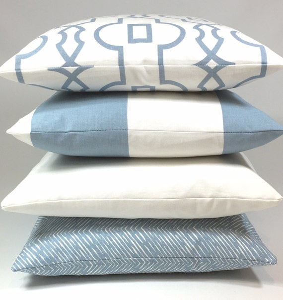 Standard Throw Pillow Cover Sizes : Blue Pillow Cover Invisible Zipper Many Standard Sizes