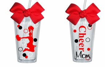 Cheer Mom, Cheerleader Tumbler, Personalize with your color choices