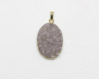Druzy Drusy Pendant With Electroplated Gold Edge 86