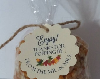 DIY Wedding Favor Popcorn Kits for Weddings Parties Thank You Favors Tags Round Scalloped Round OR Flourish Square