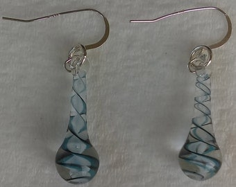 Handmade lamp work glass earrings with sterling silver wires