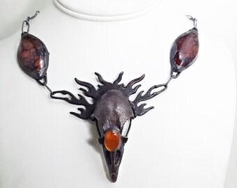 Electroformed Phoenix Necklace. bird skull bone jewelry animal bones oddities curiosities taxidermy pagan mythical goth wasteland fire