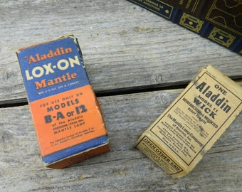 Antique Aladdin Lox-On Mantle - B - A or 12 Models and Aladdin Model 11 Wick - New Old Stock - Original Box