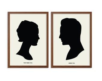 THE MATRIX | I Need You Poster : Neo + Trinity Modern Illustration Retro Art Wall Decor