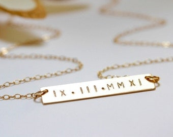 engraved necklace gold bar necklace initial bar engravable