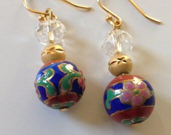 Dangle Earrings, Cloissone Drop Earrings, Colorful Earrings, Gold Earrings, Clear Glass Earrings , Shiny Earrings