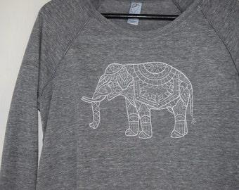 Yoga Sweatshirt - Embroidered Elephant Yoga Sweater - Elephant Sweater - Elephant Sweatshirt