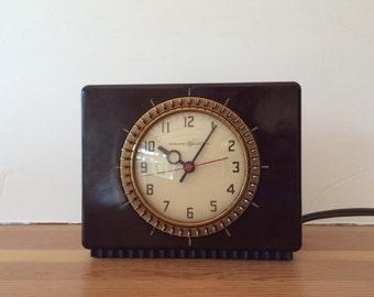 Vintage General Electric Bakelite Timer Clock Electric Clock Brown Bakelite Household Clock Working Condition