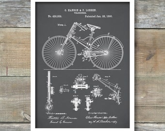 Bicycle 1890 Patent Poster, Antique Bicycle, Hipster Wall Art, Living Room Decor, Cycling Art, Bicycle Print, P314