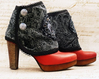 Spats, Victorian Spats, Steampunk Spats, ShoeCover, Goth Style, Boot Covers, Black Spats, Ankle Cuffs, Boots Cuff