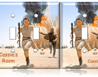 Star Wars Rey The Force Awakens Light Switch Cover running // PERSONALIZED