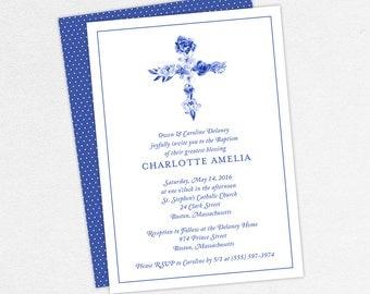 Baptism Invitation, Christening Invitation, Girl Baptism, Printable Baptism Invitation, PDF, Flowers, Floral, Watercolor, Blue, Charlotte