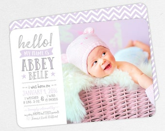 Photo Birth Announcement, Girl Birth Announcement, Monogram Announcement, PDF, DIY, Printed Announcements, Purple, Gray, Typography, Abbey