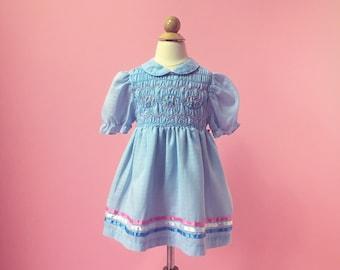 Vintage Raspberry Pink Floral Dress (Size 2T)