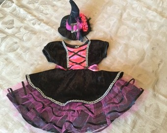 Infant Toddler Girls Halloween Witches Costume Dress, Hot Pink, Sz 3, 6, 9 mo