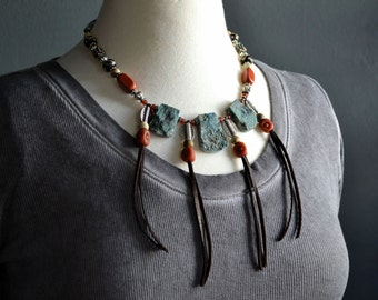Rustic Southwest Necklace, Tribal Bohemian Necklace, Earthy Gemstone Necklace, Gypsy Boho Necklace, Unique Stone Necklace, Ethnic Necklace