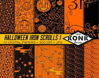 10 Digital Halloween Papers Iron Scroll Theme, JPG, 300 dpi, 12x12 inches, Set 1 of 2