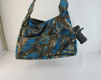 Sapphire Blue CAMO Concealed Carry Purse Small