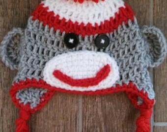 Baby Boy Sock Monkey Hat