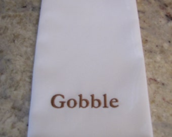 """Set of 4 Thanksgiving """"Gobble"""" Dinner Napkins Matte Poly, Holidays, Housewarming, Formal Dinner, Hostess Gift"""