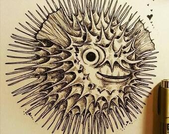 "Blowfish illustration 6x6"" on 10x13"" acid free paper. Framed."