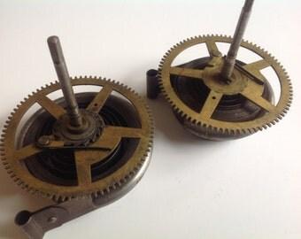 Large vintage clock mainspring gear parts
