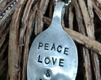 Peace Love & Junk Stamped Silverplate Spoon Necklace
