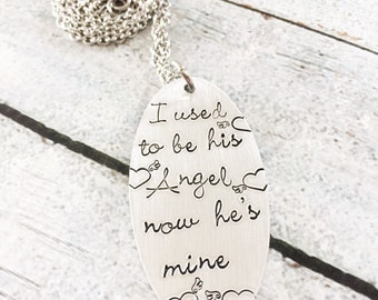 I used to be his angel - Hand stamped necklace - Loss necklace -  Memorial necklace - Commemerative necklace - Loss of a loved one