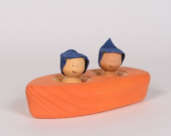 Orange wooden boat, wooden bathing toy, wooden rowboat by l'Atelier Cheval de bois