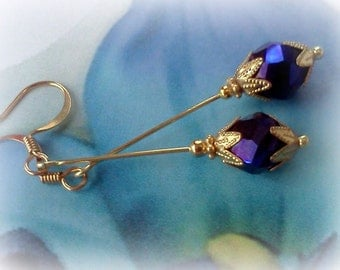 Handmade Earrings, Purple Earrings, Dangle Earrings, Purple Crystal Earrings, Boho Earrings, Cottage Chic, Bridal Earrings, Long Dangles