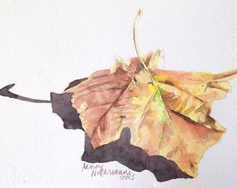 Original Watercolor of Autumn Maple Leaf