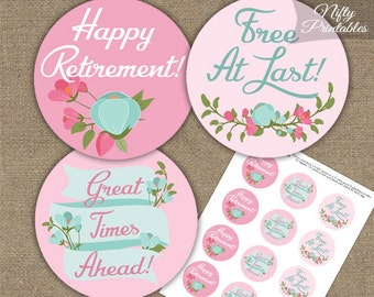 Retirement Cupcake Toppers - Pink Mint Floral Retire - Printable Retirement Toppers - Pink & Mint Green Retirement Party Decorations PMF
