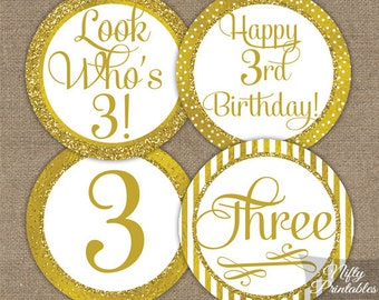 3rd Birthday Cupcake Toppers - Gold 3rd Birthday Toppers - Printable 3 Years Old Birthday Party Decorations - 3rd Birthday Favor Tags GLD