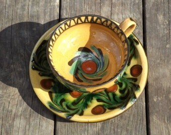 Kähler Tea Cup Set, Rare Danish Stoneware, Herman Kähler HAK, 1920s, Art Nouveau, Antique Pottery, Collectibles, High Glaze, Scandinavian