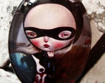 Girl Cabochon,30 X 40,Glass Cabochon